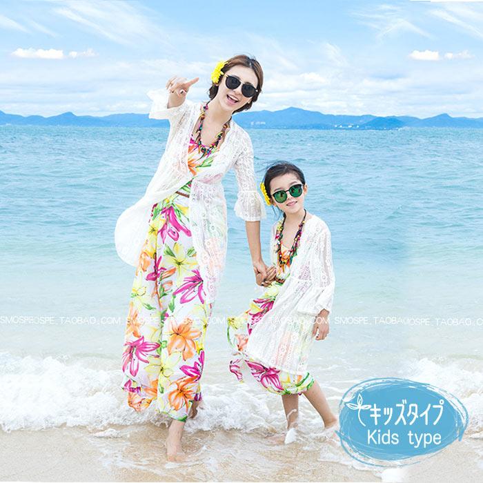 子供UV対策 日焼け防止 子供 親子 ロングレースニットカーディガン お揃い 親子ペア ママとお揃い レースニットカーディガン ペアルック 爽やか ビーチ 海 夏服