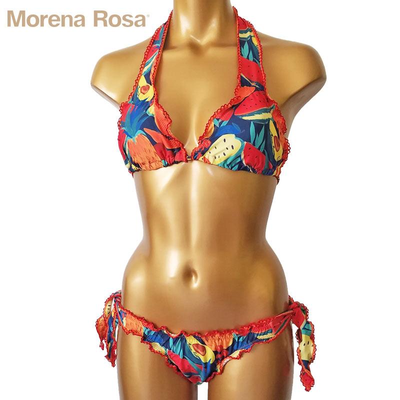 フルーツ柄|【Morena Rosa】モレナローザ トロピカルフルーツ柄ホルターネックフリル水着|マルチ