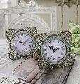 スタイルロココ ジュエルストーンの置時計♪ (スクエア型) アンティーク風 シャビーシック フレンチカントリー テーブルクロック アンティーク 雑貨 antique french country