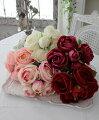 スタイルロココ カップ咲きのオールドローズブーケ・5本タイプ(ホワイト・ピンク・ピーチ・ワイン・レッド)  【シルクフラワー・アーティフィシャルフラワー】 花束 薔薇 造花