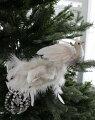スタイルロココ クリスマスオーナメント♪ (ボタニカルホワイトバード) 鳥モチーフ  シャビーシック 北欧 フレンチ ロマンティック 可愛い クリスマス飾り ツリーオーナメント ツリートップ