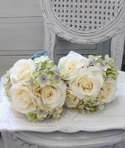 ペッシェローズ&ハイドブーケ・7本タイプ(ホワイト・グリーン系)  【シルクフラワー・アーティフィシャルフラワー】 紫色 花束 薔薇 造花