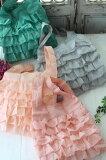 フレンチキュートなフリルエコバッグ♪♪ サブバッグ ポリエステル製 8色有り(グレージュ、グリーン、ベビーピンク、ピンク) 袋付き