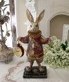 スタイルロココ ダイヤチェックラビット・クロック ウサギの置時計 置物 シャビー 北欧 フレンチ ロマンティック アリス 可愛い ロココ調 輸入雑貨