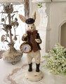 スタイルロココ ハットラビット・クロック ウサギの置時計 置物 シャビー 北欧 フレンチ ロマンティック アリス 可愛い ロココ調 輸入雑貨