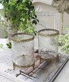 スタイルロココ 猫足のアンティークなグラスポット(2種D、E) 小物入れ 花瓶 ペン立て  フレンチカントリー アンティーク 雑貨 輸入雑貨 antique shabby chic