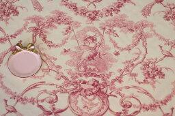 フランス製 トワルドジュイ柄 貴婦人ブランコ オフホワイト×ピンク系 THEVENON社 輸入生地 テーブルクロス カーテン生地 ファブリック カルトナージュ カット販売 姫系