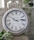 シャビーホワイトのフレンチ掛け時計(フランスロゴ) アンティーク 雑貨 掛け時計 ウォールクロック アンティーク風 シャビーシック antique