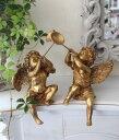 トランペットを吹くペア天使の置物(左右2個ペアセット) ゴールド 天使 エンジェル シャビー 北欧 フレンチ クリスマス 輸入雑貨