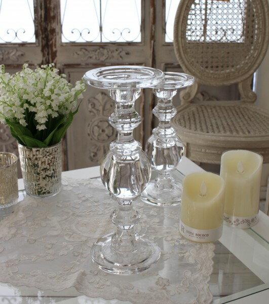 (SALE・30)ガラス製のキャンドルスタンド(ボールタイプL) 燭台 キャンドルホルダー シャビーシック 姫系 アンティーク 雑貨 アンティーク風 antique