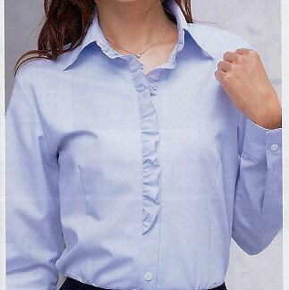ブラウス(シャツ) BONMAX(ボンマックス)RB4128 胸元を華やかに彩る上品なフリル!制服・事務服におすすめ|事務 制服 ユニフォーム ユニホーム ビジネス オフィス 企業制服 仕事着 オフィスウェア 事務制服 レディースシャツ 制服専科
