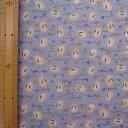 約70cm巾×1m 1980円10cmにつき198円 レーヨン100%レーヨンちりめん金彩文様 雪うさぎ ブルー