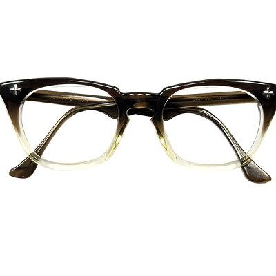 1960sアメリカ製ボシュロムBAUCSH&LOMBB&Lクロスヒンジブラウンフェードウェリントンメガネ眼鏡ビンテージ9923