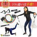 STEADY(ステディ) トレーニングチューブ 強度別5本セット 収納ポーチ・日本語トレーニング動画...