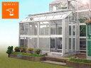 アルミ温室/2段サッシタイプ(A-2タイプ:間口2,000×奥行3,718×棟高2,657mm、2.2坪)4ミリ強化ガラス仕様、もしくはポリカーボネート素材