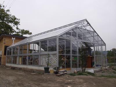 アルミ温室/2段サッシタイプ(F-6タイプ:間口4,800×奥行11,030×棟高3,465mm、16.0坪)4mm強化ガラス仕様