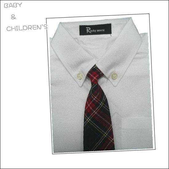 メール便可ベビー〜子供までネクタイ付きYシャツ(白)・・本格仕様ボタンダウンシャツ♪フォーマルスーツ