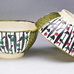 【送料無料】 京焼 清水焼 夫婦茶碗 組飯碗 2客セット 鉄絵三島組 てつえみしま