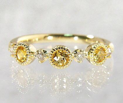 K18 イエローベリル ダイヤモンド リング 「margherita」送料無料 指輪 ダイアモンド ゴールド 18K 18金 ミル打ち 刻印 文字入れ メッセージ ギフト 贈り物 ピンキーリング対応可能