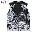 ショッピングラック RIK VILLA (リック ヴィラ) $ MOTO VEST (BLACK/WHITE) [ライダース バイカー ベスト ジレ トップス ブランド ロゴ ストリート メンズ ユニセックス] [ブラック/ホワイト]