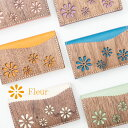 ショッピングカード VARCO REAL WOOD フルール カードケース レディース おしゃれ 名刺入れ 革 本革 革製 ヌメ革 日本製 木製 かわいい 花柄 フラワー 女性 デザインカードケース 名刺 マルチカラー カジュアル 手作り ブランド