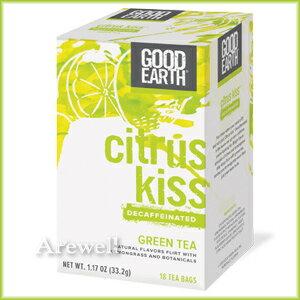 夜でも飲めるカフェインレス 天然レモンミント味のさっぱり緑茶 シトラス キス デカフェ グリーンティー 18ティーバッグ