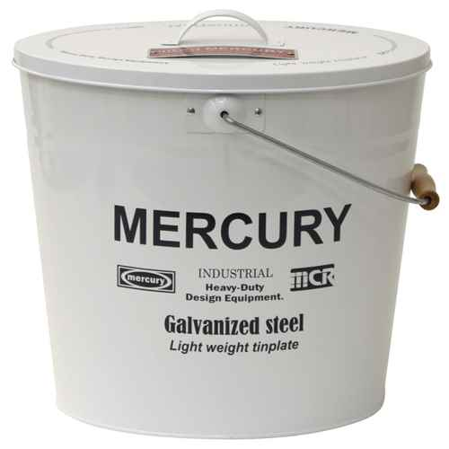 MERCURY(マーキュリー) ブリキバケツオーバルふた付き ホワイト