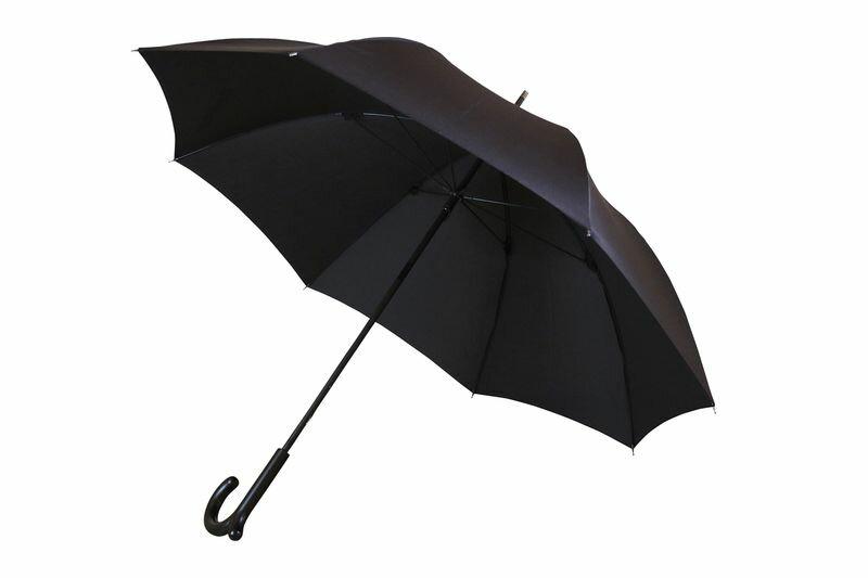ランブレラ 長傘 手開き ブラック 日本製 グラスファイバー骨 フジテレビ【クイズやさしいね】紹介 手元になめらかな突起があることで、カバンがかけられる新発想の傘。ユニーク