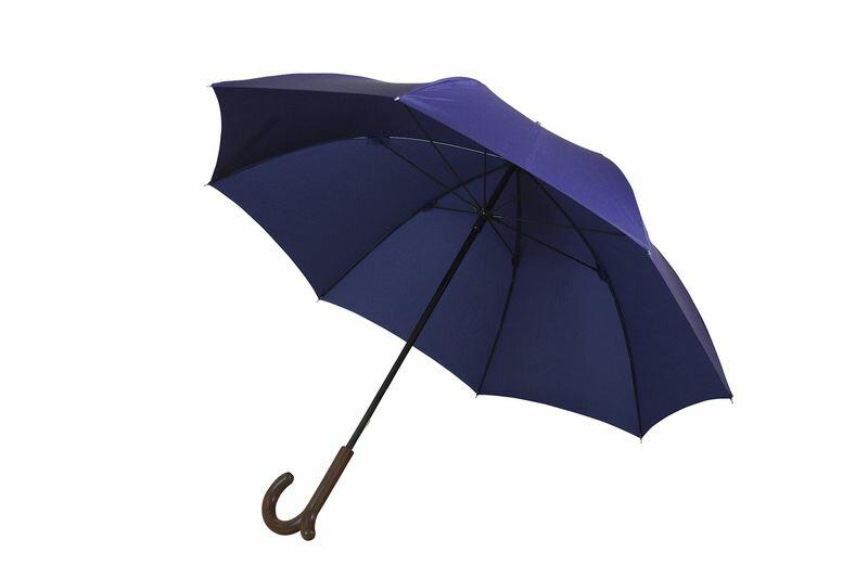 ランブレラ 長傘 手開き ネイビー 日本製 グラスファイバー骨 フジテレビ【クイズやさしいね】紹介 手元になめらかな突起があることで、カバンがかけられる新発想の傘。