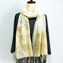 ショッピングベージュ コットン刺繍ストール ベージュ 天然素材綿100%のショール