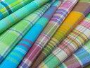 とてもやわらかな肌ざわり♪爽やかなグリーン系 インド綿マドラスチェック
