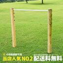 【一連】 木製 鉄棒 (小) 無塗装 スチールバー 防腐加工処理済