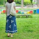 ☆巻きスカート3日間特別セール!すっきりキレイなAライン♪夏におすすめの涼しいインド綿スカートです。インド綿 薔薇の巻きスカート マリンブルー ロングスカートラップスカート アジアン エスニック スカート アジアンファッション