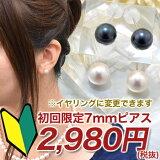 [6種のクーポンでさらにお得!]「【メール便・】あこや真珠 ピアス(スタッド)・イヤリング パールホワイト系・グリーン系 7.0-7.5mm B〜CB〜CB〜C K14WG」(真珠