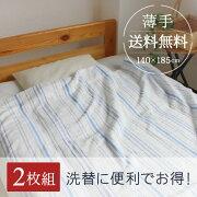 タオルケット マイヤー織が気持ちイイ  爽やかストライプ・薄手タオルケット シングル 2枚組 140×185cm towelket