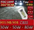 メルセデスベンツ CLS H17 W219 LED フォグランプ用 ハイパワー LEDバルブ H8/H11/H16 30W/50W/80W ホワイト 2個セット【LED/フォグ/LEDバルブ/エルイーディー/フォグランプ/フォグライト/CREE/クリー/YOUCM/ライト】