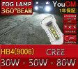 トヨタ アルテッツァ ジータ H13.5-H14.7 GXE・SXE10系 LED フォグランプ用 ハイパワー LEDバルブ HB4(9006) 30W/50W/80W ホワイト 2個セット【LED/フォグ/LEDバルブ/エルイーディー/フォグランプ/フォグライト/CREE/クリー/YOUCM/ライト】[10P03Sep16]