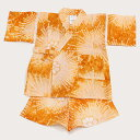 贈り物にもおすすめです。【3〜4才用】お子様 絞りのじんべい 花火(オレンジ)