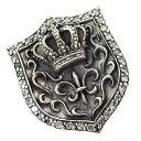 シャイニーシールド(3)CZ 盾ユリ王冠 メイン シルバー925 銀 ペンダントトップ ネックレス メンズ レディース 送料無料 おしゃれ
