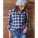 [綿100パーセント]オープンカラー・チェックシャツ/NEY/ラズレナ(Luz Llena)