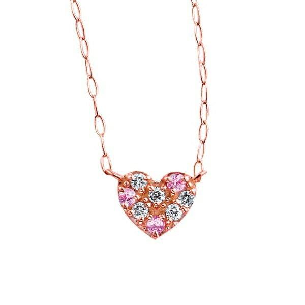 9月誕生石K10ピンクゴールドピンクサファイアハートモチーフパヴェネックレス/エステール(ESTELLE) パヴェの輝きが美しいハートネックレス