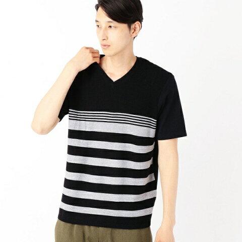 異素材コンビネーションTシャツ<パネルボーダー柄>/コムサイズムメンズ(COMME CA ISM)