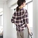 【手洗いできる】ウールリネン2WAYチェックシャツ/コーエン(レディース)(coen)