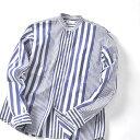 SHIPS JET BLUE: クレイジーストライプ バンドカラーシャツ/シップス ジェットブルー(SHIPS JET BLUE)