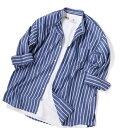 SHIPS JET BLUE: バンドカラー 7分袖シャツ/シップス ジェットブルー(SHIPS JET BLUE)