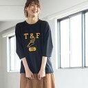 インレイプリントTシャツ(7分袖カットソー)/コーエン(レディース)(coen)