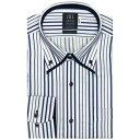 ショッピングダウン 形態安定 ノーアイロン 長袖ワイシャツ ボタンダウン ダブルカラー 白×ブルーストライプ 標準体/ブリックハウス(BRICKHOUSE)