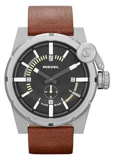 DIESEL / MEN'S WATCH / DZ4270 / BAD COMPANY / W.R.5BAR / BROWN LEATHER / MATTE BLACK×POLISH SILVER