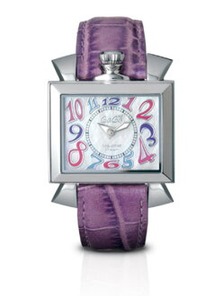 GaGa MILANO ( ガガミラノ ) NAPOLEONE just for a short ) ladies watch 6030.7 (40 MM) CROCODILE (crocodile) MOTHER OF PEARL×VIOLET MULTICOLOR ( mother-of-Pearl x multi color violet ) MADE IN ITALY