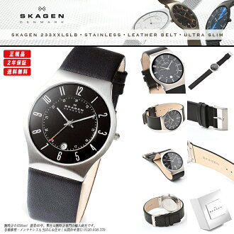 Product made in SKAGEN (scar gene) men's watch 233XXLSLB BLACK LEATHER (black leather) SHINY BLACK X SILVER (shiny black X silver) MADE IN DENMARK( Denmark)